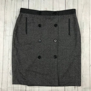 Ann Taylor wool blend button straight skirt V1
